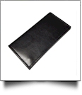 Luxurious Square Cornered Faux Leather Tri-Fold Wallet Embroidery Blank - BLACK