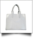 Luxurious Square Faux Leather Handbag Purse - LIGHT GRAY