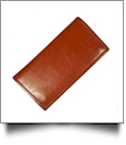 Luxurious Square Cornered Faux Leather Tri-Fold Wallet Embroidery Blank - LIGHT BROWN