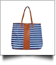 Premium Oversized Stripe Tote Bag Embroidery Blanks - ROYAL - IRREGULAR