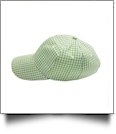 The Coral Palms® Gingham Unstructured 6 Panel Baseball Hat - LIME