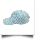 The Coral Palms® Gingham Unstructured 6 Panel Baseball Hat - AQUA