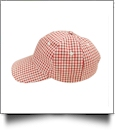 The Coral Palms® Gingham Unstructured 6 Panel Baseball Hat - RED