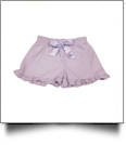 The Coral Palms™ Ruffle Seersucker Shorties with Ribbon Bow - LAVENDER