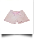 The Coral Palms® Ruffle Seersucker Shorts with Ribbon Bow - LIGHT PINK - CLOSEOUT