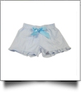 The Coral Palms™ Ruffle Seersucker Shorties with Ribbon Bow - BLUE