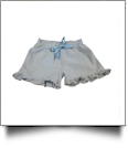 The Coral Palms® Ruffle Seersucker Shorts with Ribbon Bow - NAVY - CLOSEOUT