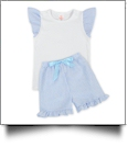 The Coral Palms™ Seersucker Ruffle Shirt & Shorts Set - BLUE - CLOSEOUT