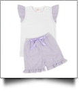 The Coral Palms™ Seersucker Ruffle Shirt & Shorts Set - LAVENDER - CLOSEOUT