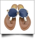 The Coral Palms� Kids EasyStitch Medallion Sandals - NAVY/GOLD TRIM