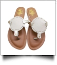 The Coral Palms� Kids EasyStitch Medallion Sandals - TAN/GOLD TRIM