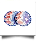 "The Coral Palms� 3"" EasyStitch Medallion Add-Ons One Pair - PATRIOTIC"