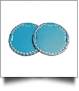 "The Coral Palms� 3"" EasyStitch Medallion Add-Ons One Pair - TURQUOISE/SILVER TRIM"