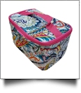 Paisley Print Cosmetic Bag Embroidery Blanks - HOT PINK TRIM