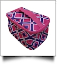 Times Square Print Cosmetic Bag Embroidery Blanks - HOT PINK TRIM