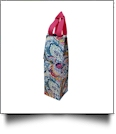 Paisley Print Insulated Wine Bottle Tote w/ Monogrammable Flap - HOT PINK TRIM