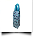 Times Square Print Insulated Wine Bottle Tote w/ Monogrammable Flap - TURQUOISE TRIM