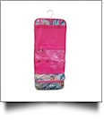 Paisley Print Hanging Cosmetic Bag Embroidery Blanks - HOT PINK TRIM