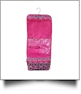 Times Square Print Hanging Cosmetic Bag Embroidery Blanks- HOT PINK TRIM