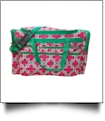 Quatrefoil Print Large Duffel Bag Embroidery Blanks - HOT PINK/GREEN TRIM