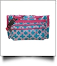 Quatrefoil Print Large Duffel Bag Embroidery Blanks - TURQUOISE/HOT PINK TRIM