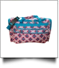 Graphic Print Large Duffel Bag Embroidery Blanks - PINK/TURQUOISE TRIM