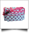 Graphic Print Large Duffel Bag Embroidery Blanks - TURQUIOISE/HOT PINK TRIM