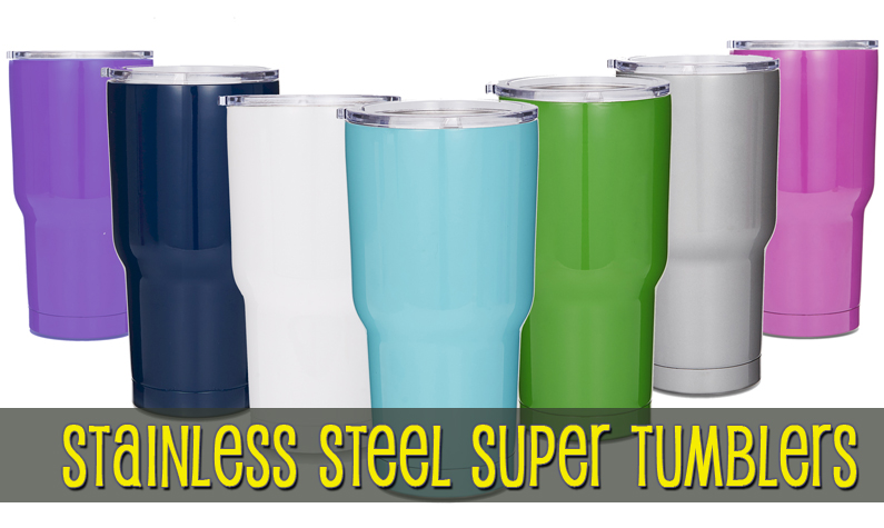 30oz Double Wall Stainless Steel Super Tumblers