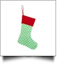 Blank Quatrefoil Christmas Stocking - GREEN with RED CUFF