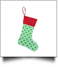 Blank Interlocking Shapes Christmas Stocking - GREEN with RED CUFF