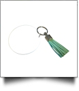 "3"" Clear Acrylic Circle Key Chain with Tassel - MINT"