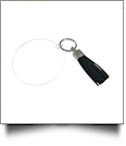 "3"" Clear Acrylic Circle Key Chain with Tassel - NAVY"