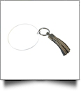 "3"" Clear Acrylic Circle Key Chain with Tassel - GRAY"
