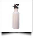 600mL Silver Stainless Steel Water Bottle with Straw Top - WHITE