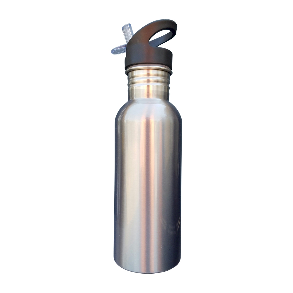 Sports Water Bottle Long Straw: 600mL Silver Stainless Steel Water Bottle With Straw Top