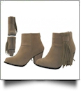 "Women's Suede 2.5"" Heel and Side Fringe Ankle High Boots - BEIGE"