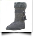Women's Micro Fiber Knit Faux Fur Lining Boots With Tassel - GRAY