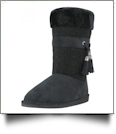 Women's Micro Fiber Knit Faux Fur Lining Boots With Tassel - BLACK - CLOSEOUT