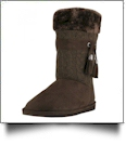 Women's Micro Fiber Knit Faux Fur Lining Boots With Tassel - BROWN
