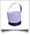 Monogrammable Easter Basket & Halloween Bucket Tote - PURPLE STRIPE