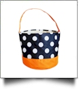 Monogrammable Easter Basket & Halloween Bucket Tote - BLACK DOT/ORANGE TRIM