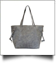 Faux Leather Handbag with Detachable Shoulder Strap - GRAY - CLOSEOUT