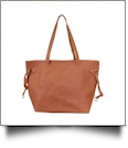 Faux Leather Handbag with Detachable Shoulder Strap - SADDLE BROWN - CLOSEOUT
