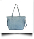 Faux Leather Handbag with Detachable Shoulder Strap - STONEWASHED DENIM - CLOSEOUT