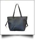 Faux Leather Handbag with Detachable Shoulder Strap - BLACK - CLOSEOUT