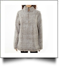 The Coral Palms� Frosted Quarter-Zip Sherpa Pullover NO FRONT PANELS - GRAY