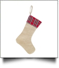Blank Burlap Christmas Stocking - RED/GREEN PLAID