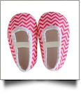 Chevron Print Baby Crib Shoes - HOT PINK - CLOSEOUT