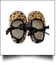 Leopard Print Baby Crib Shoes - BLACK BOW - CLOSEOUT