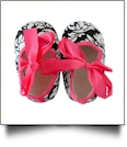Damask Print Baby Crib Shoes - HOT PINK BOW - CLOSEOUT